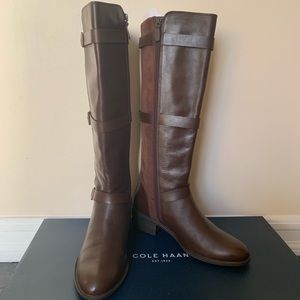 Cole Haan Salem Tall Leather 3 Buckle Riding Boots
